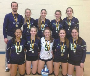 Above is the senior girl's volleyball team with their gold medal in Grimshaw during Oct. 23-24. In front, from left, are Edith Sanchez, Lauren Lauzé, Brianne Laverdière, Danika Dion and Jessica Gosselin. In back, from left, are coach Jean-Pierre Lavoie, Emma Bastien (exchange student from France), Kyla Guérette, Cloé Maisonneuve and Celina Bouchard.