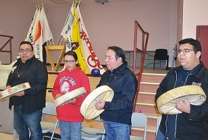 Ceremonies opened with the Driftpile Drummers, left-right, Devin Bellerose, Mikisiw Bellerose, Denny Bellerose and Kage Bellerose.