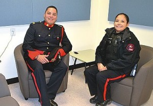 Constables Cory Cardinal, left, and Allison Meltingtallow sit in one of the interview rooms.