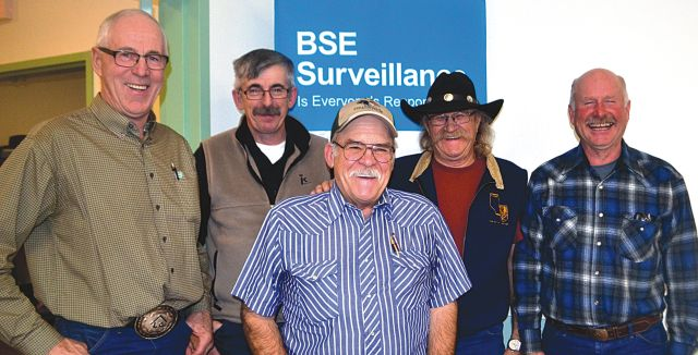 Alberta Beef Producers hosted a fall meeting in High Prairie on Nov. 4. Among those attending were, left-right, Len Parke of Alder Ridge, ABP finance chair Roland Cailliau of Valleyview, Duane Nichols of Salt Prairie, Guy L'Heureux of Joussard and Dale Smith of New Fish Creek.