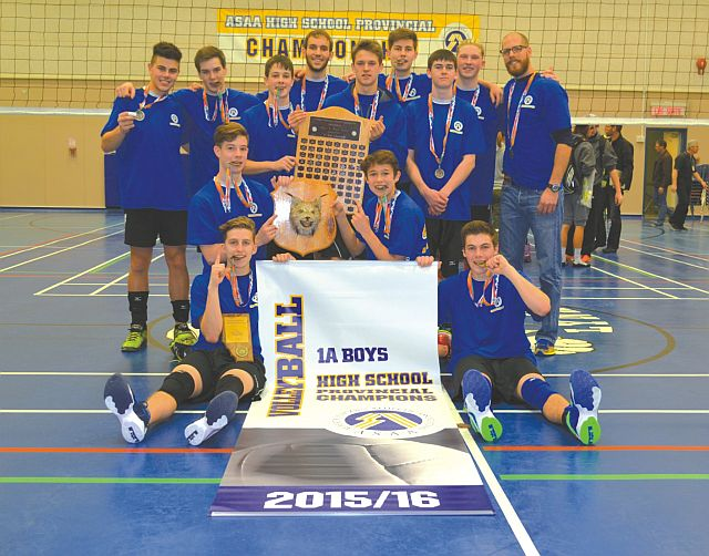 Celebrating their victory! The Ecole Heritage Lynx senior high boys volleyball team and their crew take in the moment as they defeated the Living Waters Christian Academy Warriors in sets of 27-25 and 25-22, for the Alberta Schools Athletic Association's 1A Boys Volleyball Championship.