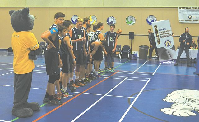 The Lynx team waits to receive their gold medal following the championship game on Nov. 28. The team also won the provincial plaque and banner.