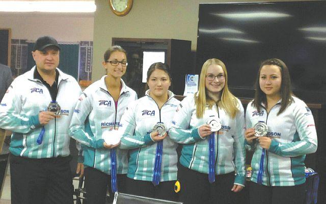 Pictured above, left-right are Coach Charles Simoneau (Guy); Megan Krassman (Medicine Hat); Ashton Skrlik (Nampa); Carley Wolfe (Peace River); and Kayla Skrlik (Peace River).