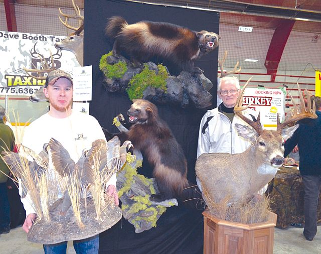 Pictured above, left-right, are Brody Teale and his grandfather, David Booth of David Booth Taxidermy in Slave Lake. They were among many merchants who participated in the 14th annual High Prairie Gun and Sportsman Show in April 2015.