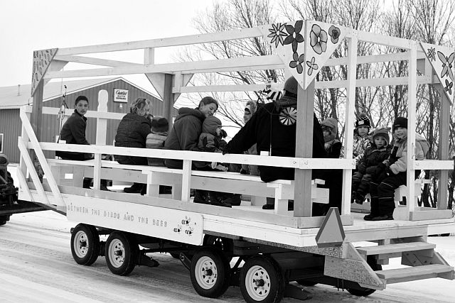 Derek Gravel gave wagon rides around the Village of Donnelly as part of Family Day activities on Feb. 15.