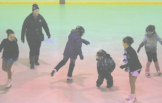 In the photo above are skaters in Levels 1-3. From left are personal assistant Janelle Beaudoin, coach Jacquie Bouchard, Erica Lasante, Zackery Lasante, personal assistant Makenna Mainsonneuve and Myla Brochu.