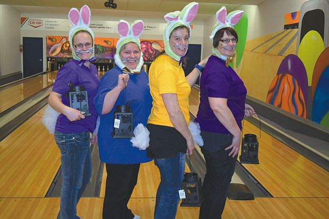 Pictured above is the 'Honey Bunny' team. Left-right are Claire Valiquette, Denise Valiquette, Colleen Cloutier and Wendy Brulotte. Their team placed second in the tournament.