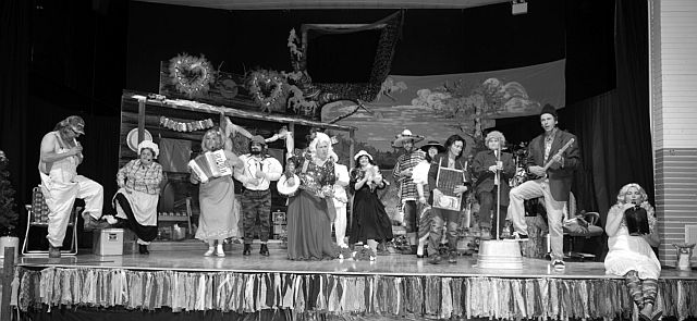 The Local Actors Having Fun Troupe held their annual mystery dinner theatre in late February and early March. This year's production was entitled 'A Stiff on Moonshine Hill' and the cast members above are doing the hillbilly rendition of 'Thunderstruck'. LAHF Troupe raised $44,000 from this year's production, which went toward building improvements for the Jean Cote community hall.