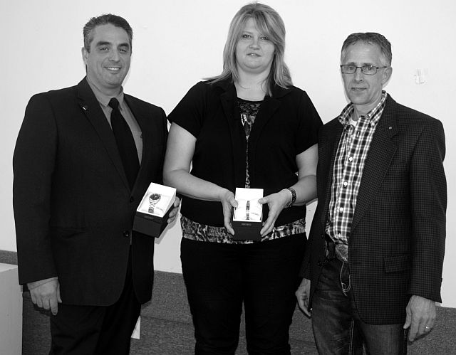 Pictured above, left-right, are Gerry Lanctot, general manager of the Girouxville General Co-op and 20-year award recipient; Maureen Prellwitz, employee and 25-year award recipient; and Rene Blanchette, the board president of the board who presented watches to them.
