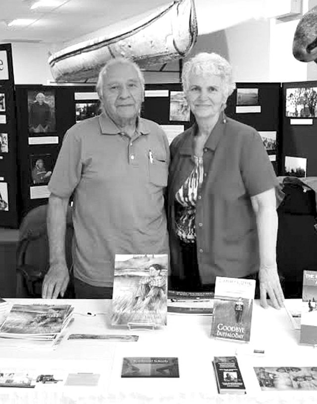 Larry Loyie, left, and partner Constance Brissenden at the 2015 open house at the Native Cultural Arts Museum in Grouard.