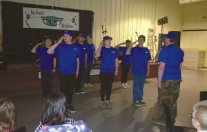 The Royal Canadian Air Cadets Squadron No. 539 performed a drill prior to the dinner and dance at the Elks Pro Rodeo Grounds, north of High Prairie, on April 16. In front, facing away, is Flight Sergeant Ashton Halldorson. In the first row, from left, are Flight Sergeant Chad Halldorson, Air Cadet Lindsay Tremblay, Air Cadet Addisen Lambert-Welch and Leading Air Cadet Mya Fulton-Willier (not shown). In the second row, from left, are Corporal Jared Gomes, Flight Corportal Robert BigCharles, Sergeant Tanisha BigCharles (not shown) and Leading Air Cadet Kasia Cardinal. In the third row is Flight Sergeant Kathleen Gilmor. Look for a video clip of the Air Cadets' drill on the Smoky River Express' Facebook page.