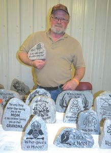 Pictured above is Derrik Bakewell of Peace Rocks Custom Stone Carving in Peace River.