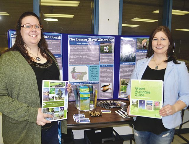 Lesser Slave Lake Watershed Council watershed co-ordinator Kaylyn Jackson, left, and executive director Meghan Payne presented the Green Acreages Guide during workshops in High Prairie on April 21 and Slave Lake on April 23.