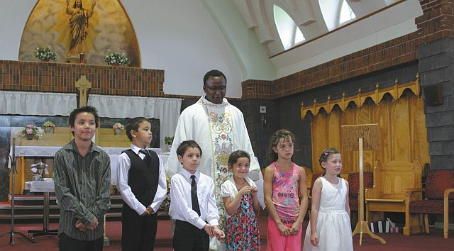 Ecole Providence students who received baptism on May 31. From left:  Kelsey Weaselfatt, Keegan Gardiner, Layton Willier, Emma Willier, Paige MacLeod and Ocean Courtoreille.