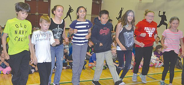 One of many activities at Aboriginal Day included dancing. Left-right are Aiden Willier, Matheau Neill, Sage Keay, Hana Sharkawi, Caylan Cunningham, Cassidy Reimer, Abby Arams and Natalie Pratt.