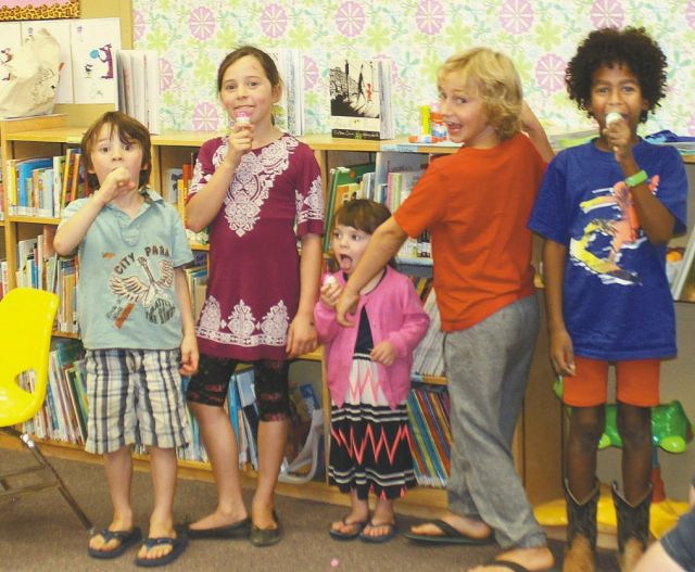 Some of the participants enjoying a cone on the final day of the Summer Reading Club at McLennan Library.