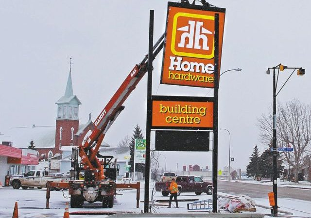 With installation of new electronic sign, upgrades to McLennan Home Hardware and Highway 2 Gas Bar site nearing completion