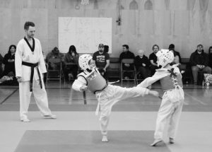 Taewkondo testing and advancement held at Georges P. Vanier