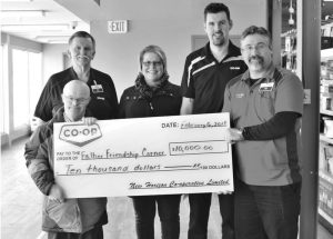 PIC – New Horizon Co-op presents $10,000 to Falher Friendship Corner Association
