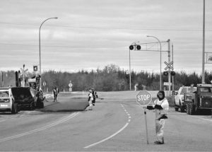 New paving at railway crossing on Highway 2 west of McLennan